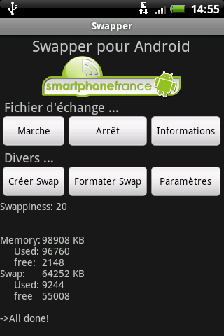 [SOFT] Augmentez la mémoire vive de votre terminal android ! Swapper